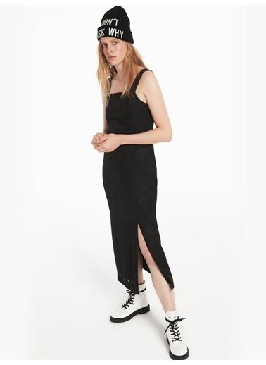 Twist Kalın Askılı Yırtmaç Detaylı Uzun Elbise Siyah
